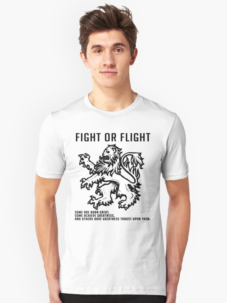 Fight Or Flight Lion Unisex T-Shirt Front