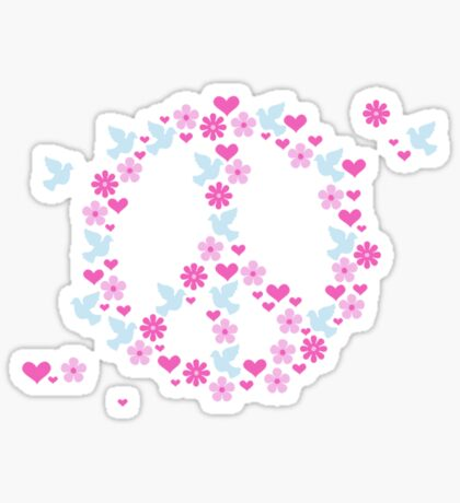 Flower Power Peace (Baby colors) VRS2 Sticker