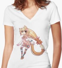 Pretty Blond Cat Girl Women's Fitted V-Neck T-Shirt