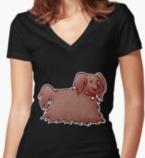 Fluffy Brown Puppy Dog Women's Fitted V-Neck T-Shirt