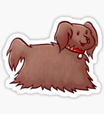 Fluffy Brown Puppy Dog Sticker