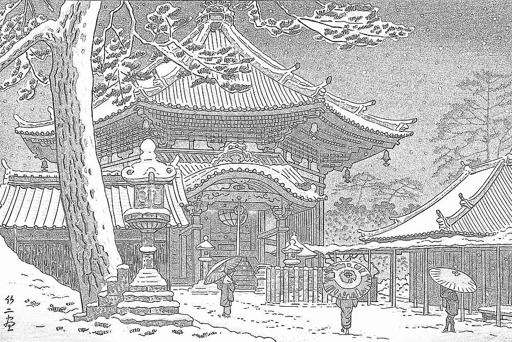 Snow at Nan-endo Temple, Nara, Japan by chawus