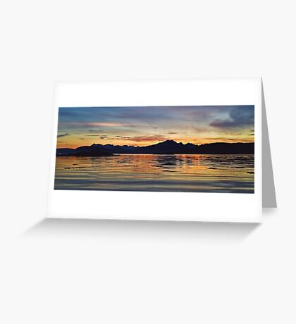 Sunset over the Black Cuillin's of Skye, Scotland. Greeting Card