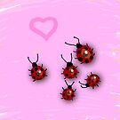Little ladybirds and dreamy pink landscape by CatchyLittleArt