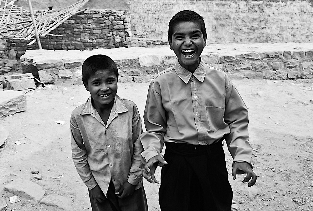 Children in Fatehpur Sikri, India by Gwill