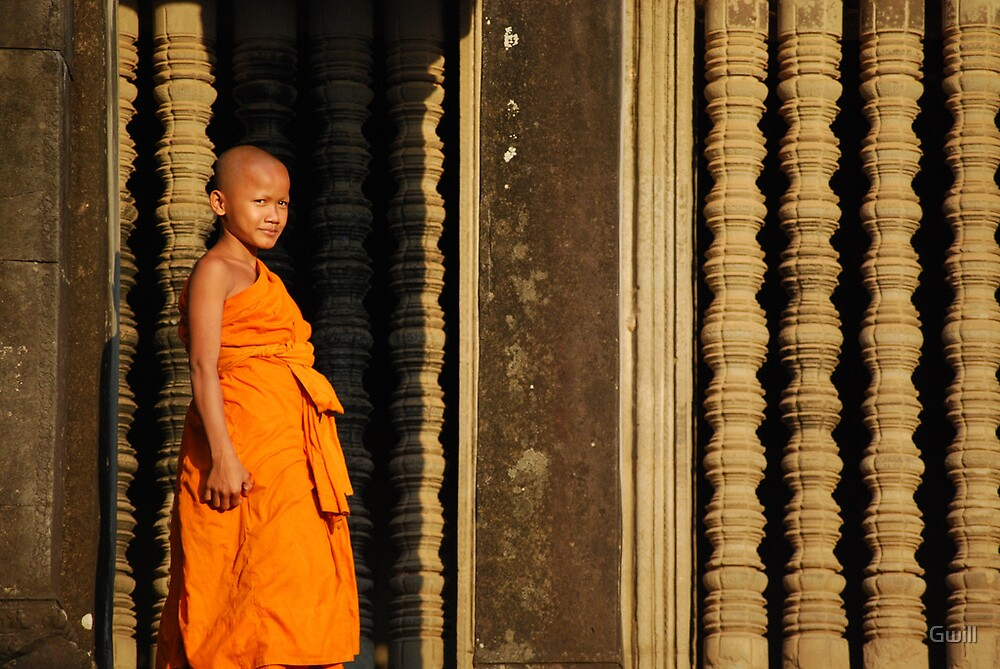 Child monk, Ankor  by Gwill