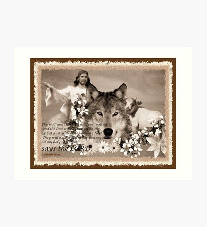 and the wolf and the sheep shall feed together Art Print
