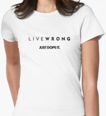 LIVEWRONG (black on yellow) Women's Fitted T-Shirt
