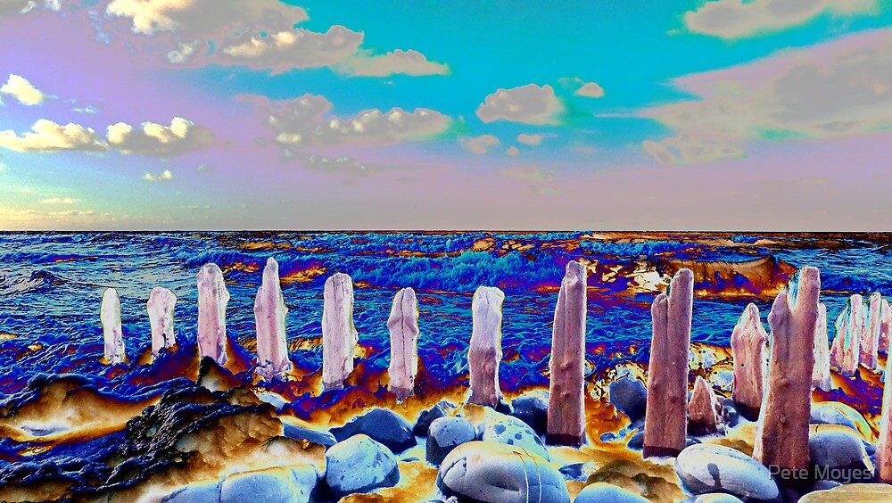 pillars on the beach #2 by Pete Moyes