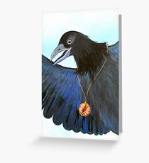 the Messenger black crow with compass painting Greeting Card