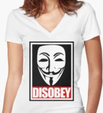 Disobey Vendetta Women's Fitted V-Neck T-Shirt