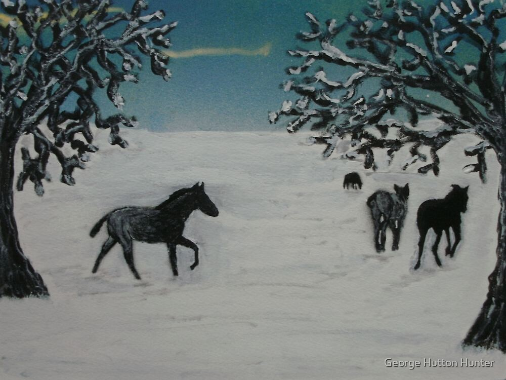 Horses in winter by George Hunter