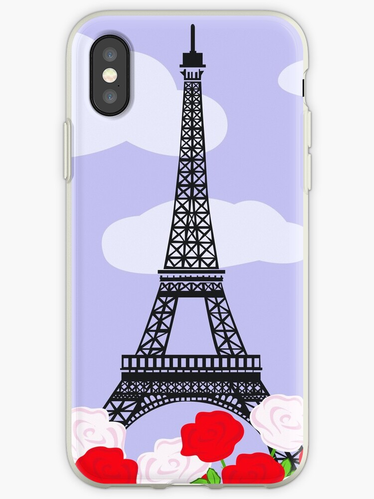 Eiffel tower with red and white roses by Marina Sterina