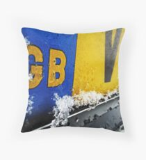 Snowy Numberplate Throw Pillow