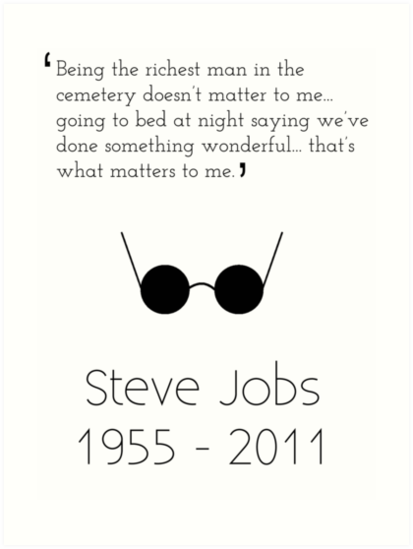 Steve Jobs Inspirational Quote Art Prints By Tom Brown Redbubble