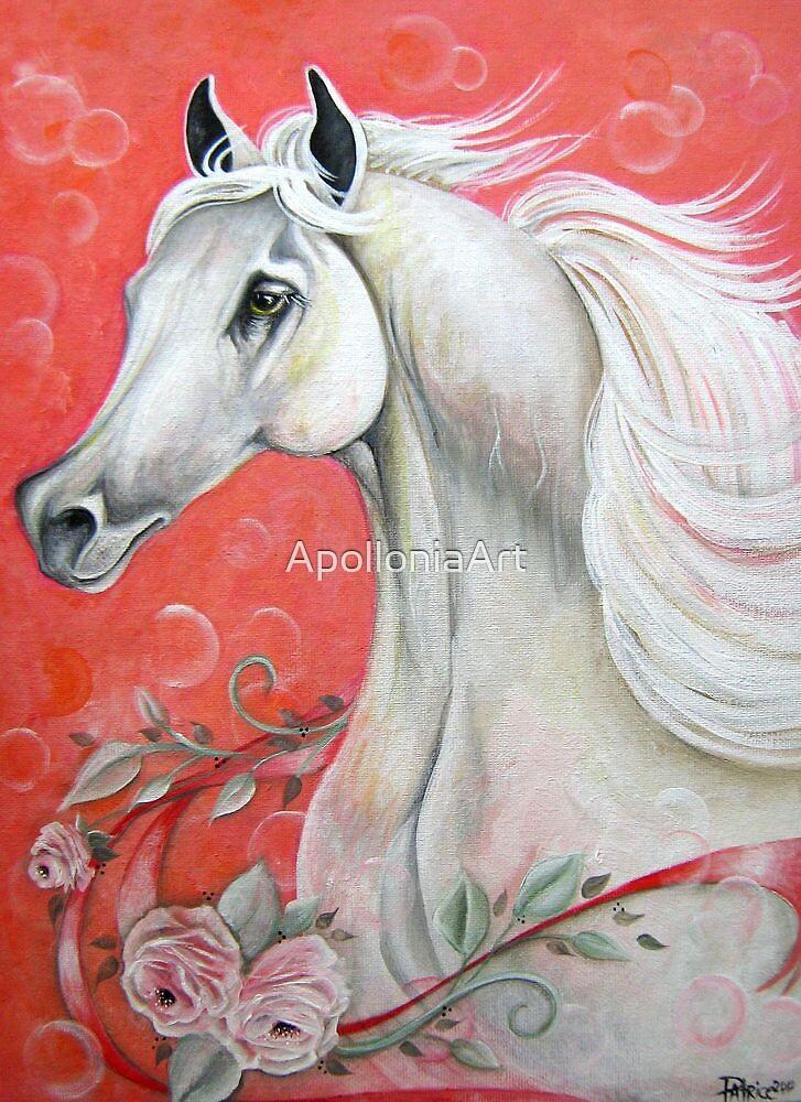 White Arabian Horse by ApolloniaArt