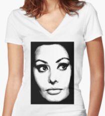 Sophia Loren Women's Fitted V-Neck T-Shirt