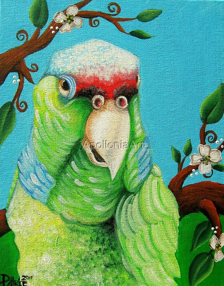 Green Parrot by ApolloniaArt