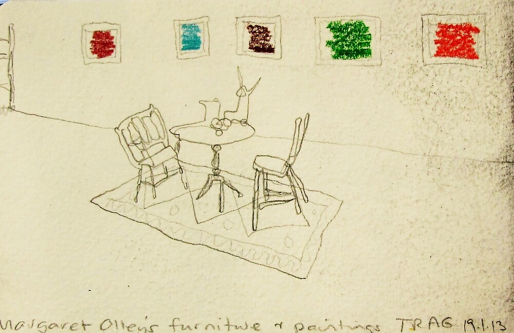 Margaret Olley's furniture with paintings by donna malone