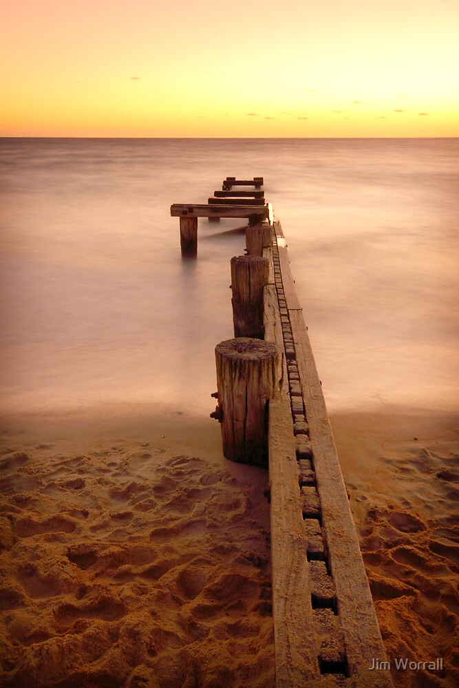 Fire in the Night - Mentone Groyne by Jim Worrall