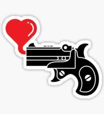 Pistol Blowing Heart Bubbles Sticker