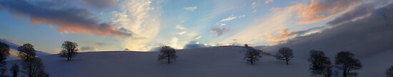 Sky and Snow Scene in the Hills of Llanfyllin, Powys by Jacqueline Longhurst