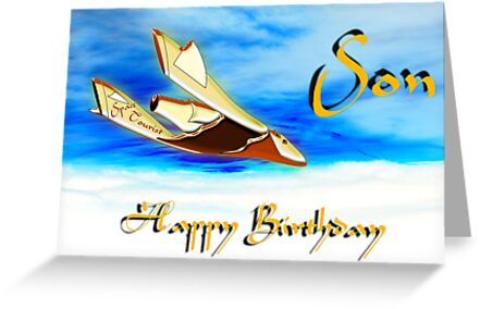 Galactic Space Tourism - Happy Birthday Son card by Dennis Melling