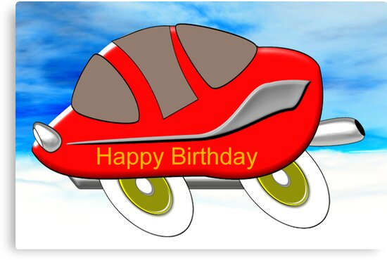 Red Racing Car - Happy Birthday card by Dennis Melling