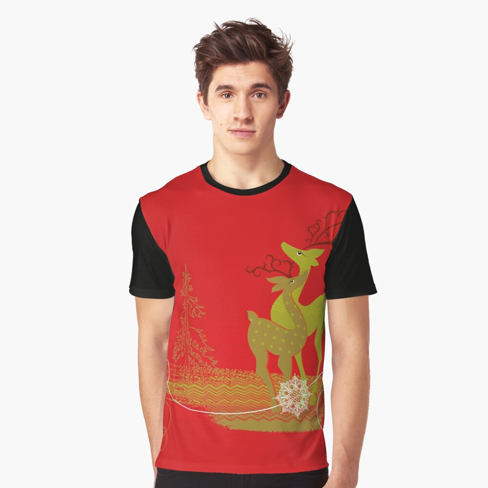 Elegance Couple Deer Graphic T-Shirt