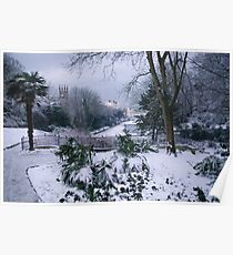 St.Leonards Gardens and Maze Hill Clock House in Snow Poster