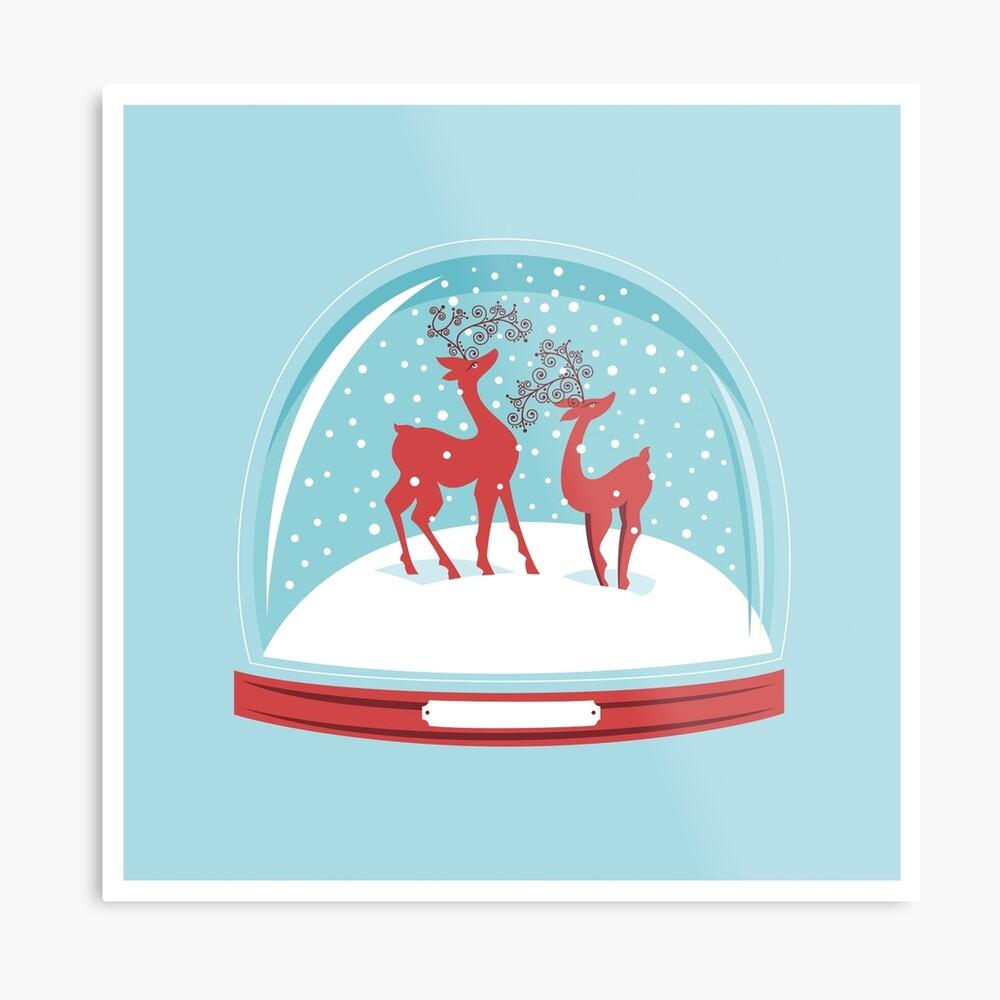 Snow-globe Couple Deer Metal Print