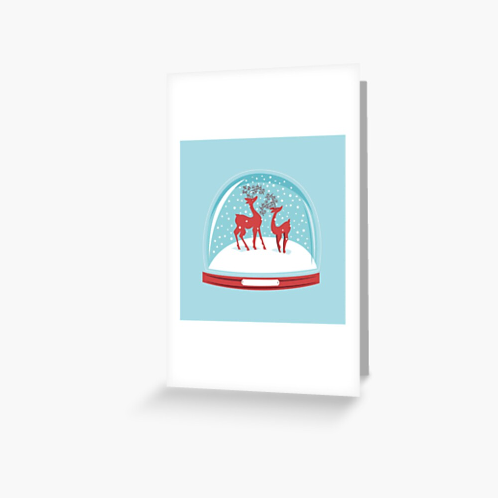 Snow-globe Couple Deer Greeting Card