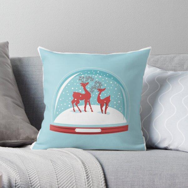 Snow-globe Couple Deer Throw Pillow