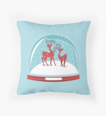Snow-globe Couple Deer Throw Pillow