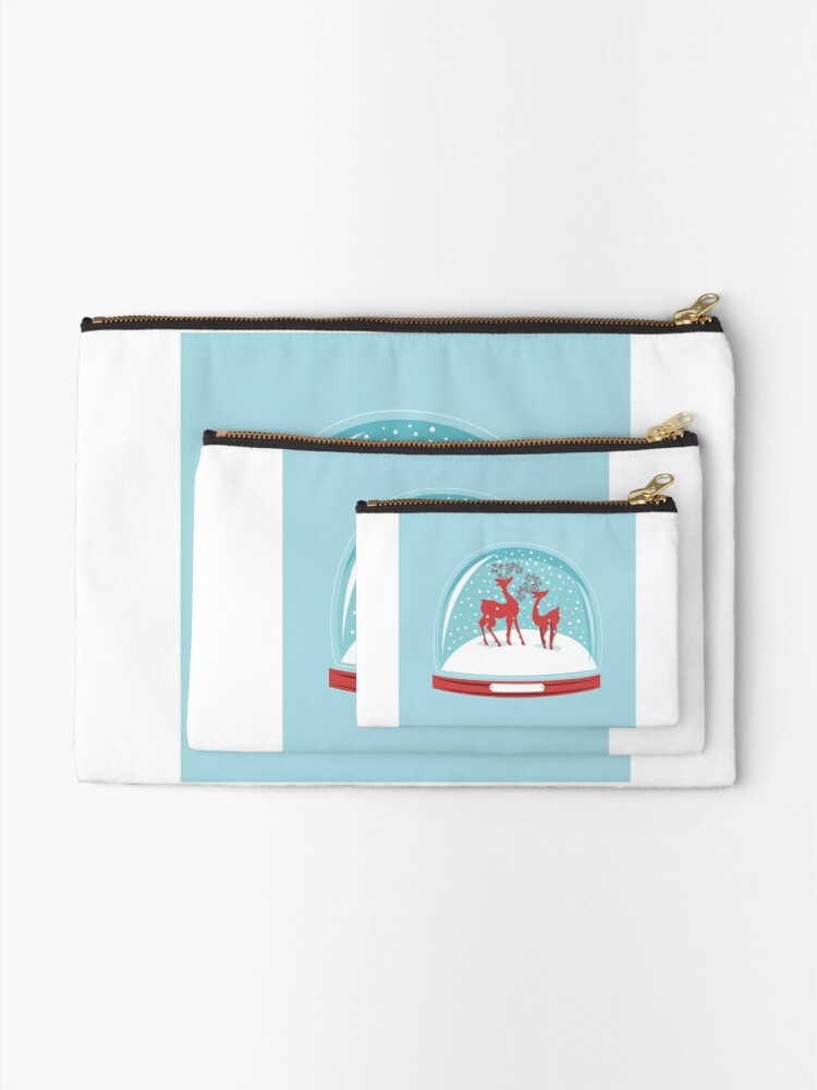 Alternate view of Snow-globe Couple Deer Zipper Pouch