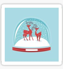 Snow-globe Couple Deer Sticker