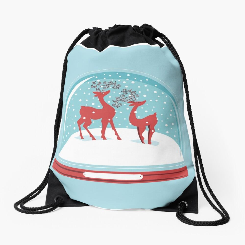 Snow-globe Couple Deer Drawstring Bag