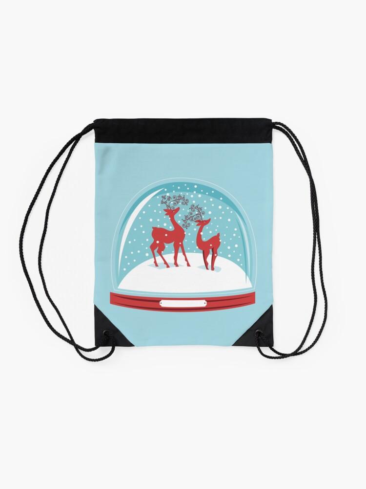 Alternate view of Snow-globe Couple Deer Drawstring Bag