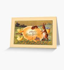 Easter Greetings-Bunnies, Chicks, Egg Greeting Card