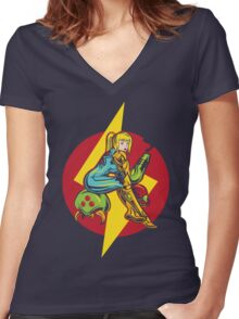 Femme Fatale Hunter - Red Edition Women's Fitted V-Neck T-Shirt