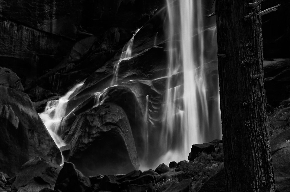 Vernal Falls in B&W by Cat Connor