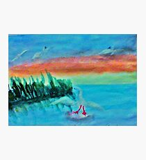 Coming in for a landing, series, watercolor Photographic Print
