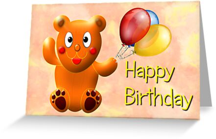 Teddy - Happy Birthday card by Dennis Melling