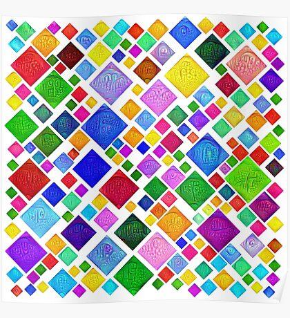 #DeepDream Color Squares Visual Areas 5x5K v1448787318 Transparent background Poster