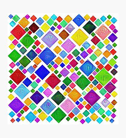 #DeepDream Color Squares Visual Areas 5x5K v1448787318 Transparent background Photographic Print