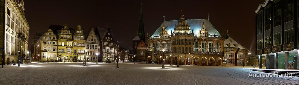 market square Bremen -wintertime - Panorama by Andreas Hartig