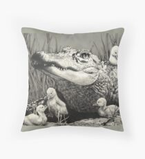 """Gator Gaggle"" Graphite Illustration Throw Pillow"
