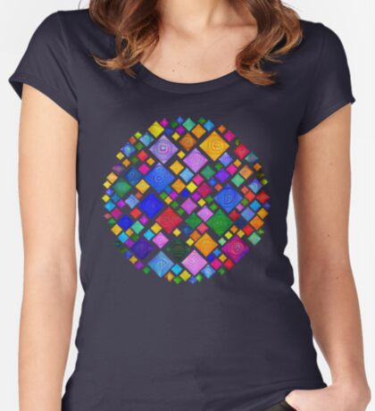 #DeepDream Color Squares Square Visual Areas 5x5K v1448810610 Transparent background Fitted Scoop T-Shirt