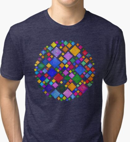 #DeepDream Color Squares Square Visual Areas 5x5K v1448810610 Transparent background Tri-blend T-Shirt