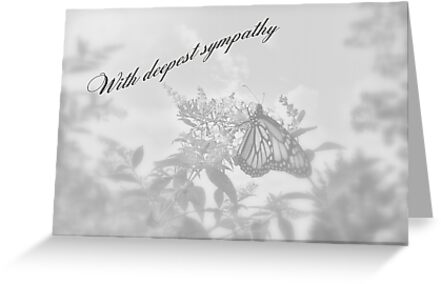 Sympathy Greeting Card - Floral With Butterfly by MotherNature